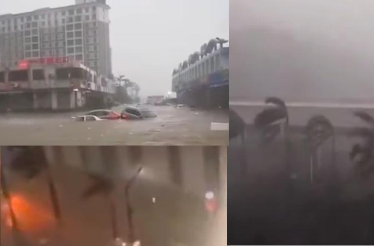 8月19日早上,颱風「海高斯」登陸廣東珠海,當地狂風暴雨。(影片截圖合成)