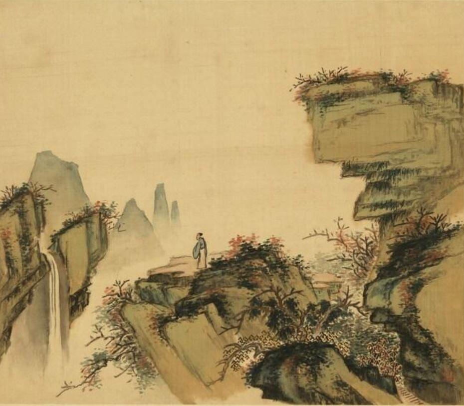 清 佟毓秀《登高賞瀑》。(國立故宮博物院提供)