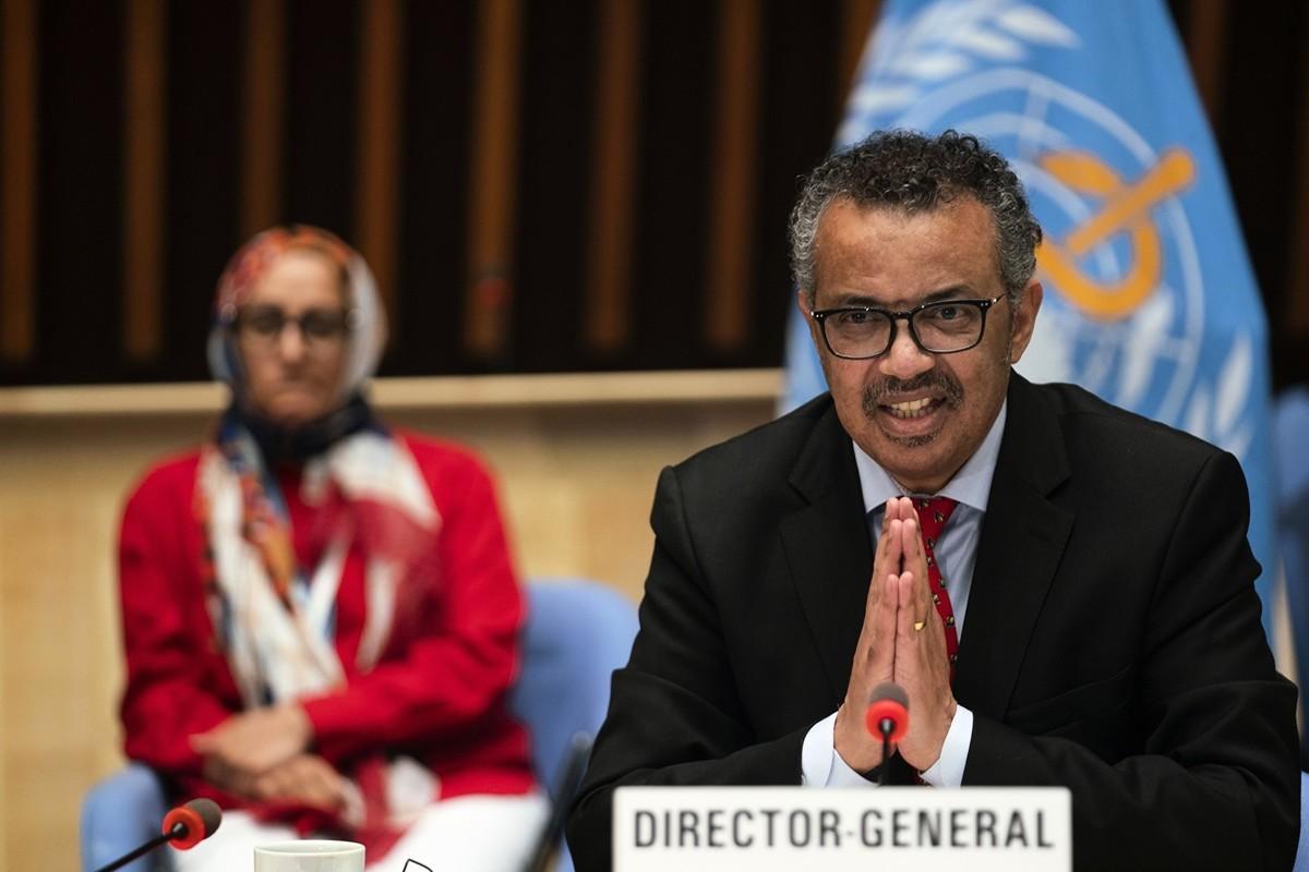 圖為2020年5月22日,世衛總幹事譚德塞出席瑞士日內瓦召開的世衛執行委員會第147屆會議。(Christopher Black/World Health Organization/AFP)