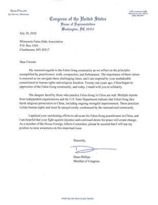明尼蘇達州國會眾議員迪恩·菲利普斯(Dean Phillips)寫給法輪功學員的聲援信。(大紀元)