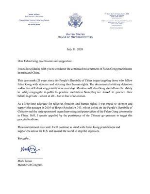 威斯康辛州國會眾議員馬克·波肯(Mark Pocan)寫給法輪功學員的聲援信。(大紀元)