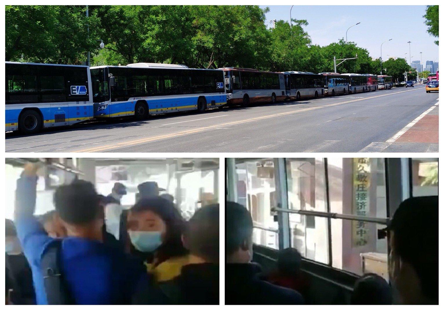2020年5月18日,因疫情關係繼續關閉,大批訪民來到中共國家信訪局後被一車車地送往久敬莊。(大紀元合成圖)