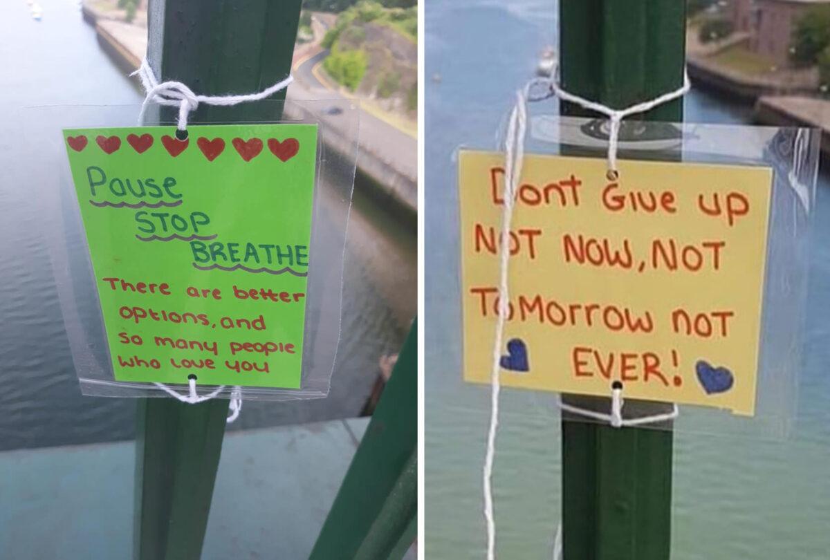 佩奇把自己真誠的心聲寫在紙條上,塑封后繫上繩子,然後再把它們固定在大橋的欄杆上。(佩奇提供)