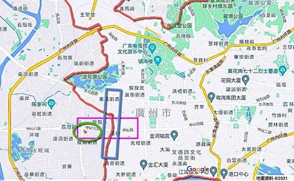 圖中荔灣區(深紅色線條隔開的左側)又一間茶點軒(圖中綠色橢圓圈中的橘色點)與越秀區(深紅色線條隔開的右側)僅挨著,兩區在此段被被人民高架橋路(藍色長型框)分開。(Google地圖/大紀元製圖)