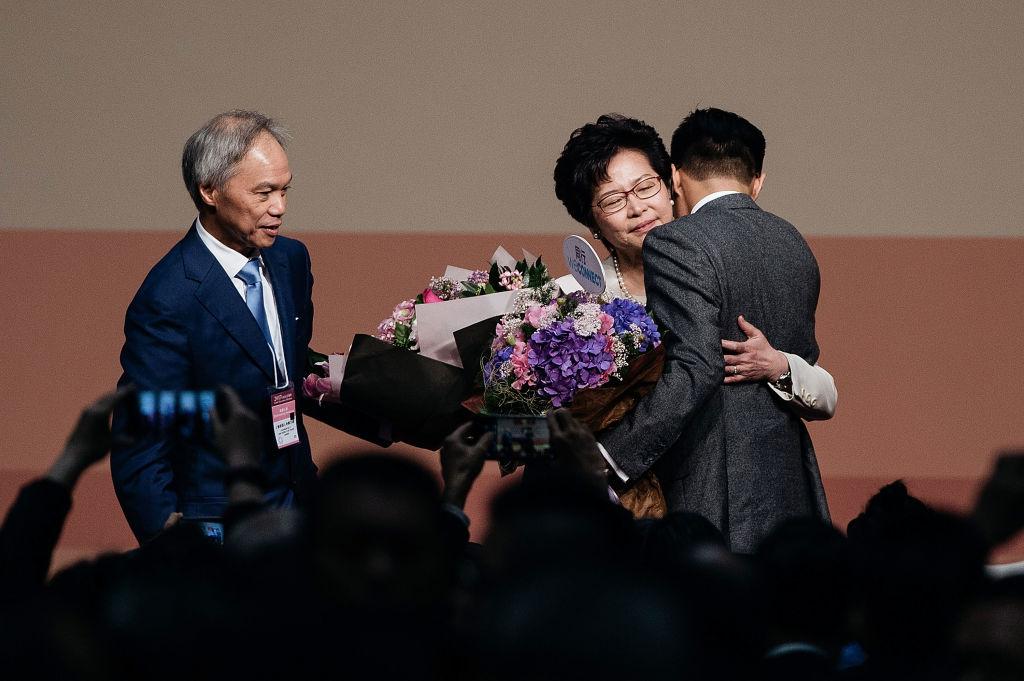 林鄭月娥的丈夫和兩個兒子都是英國公民。(Anthony Kwan/Getty Images)