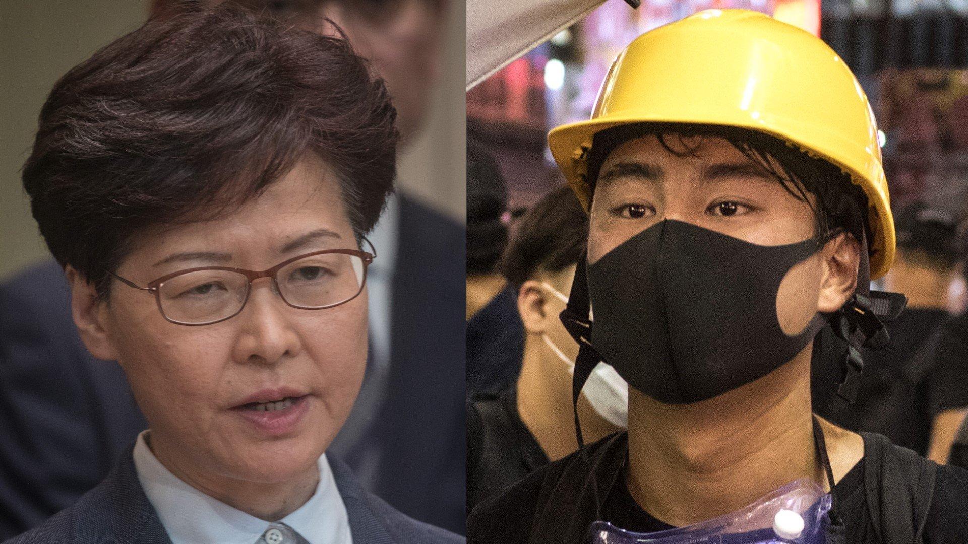 左:林鄭月娥;右:香港反送中示威者。(大紀元合成圖)