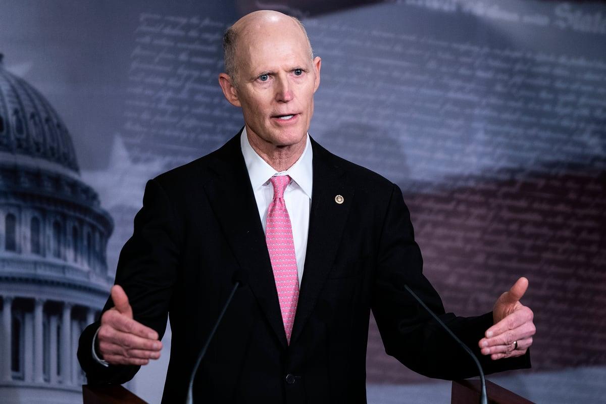 2020年6月7日美國參議員斯科特(Rick Scott)表示,中共企圖阻止美國等西方國家開發疫苗。(Alex Edelman/AFP)