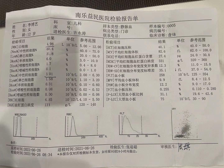 6月在縣醫院檢測單。(蔣艷紅提供)