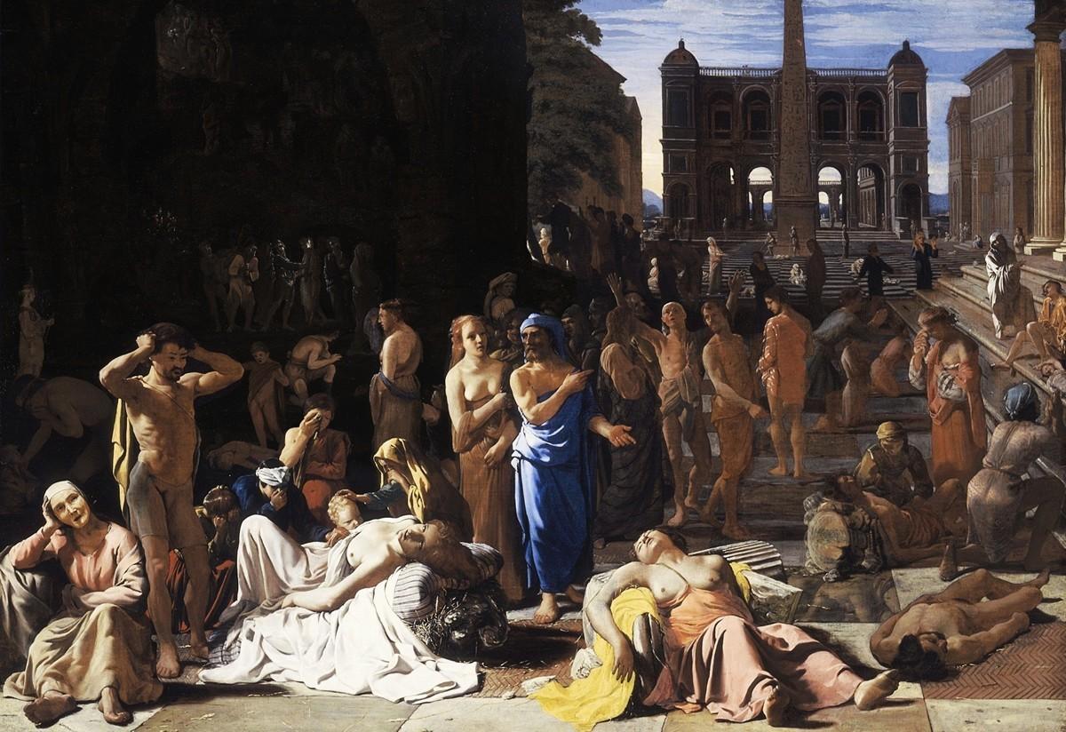 雅典大瘟疫。約1652年至1654前後由Michiel Sweerts繪製。(公有領域)