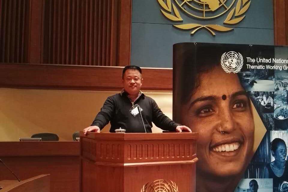 圖為2016年3月8日,劉因明在聯合國亞洲及太平洋中心應邀發表演講。(受訪者提供)