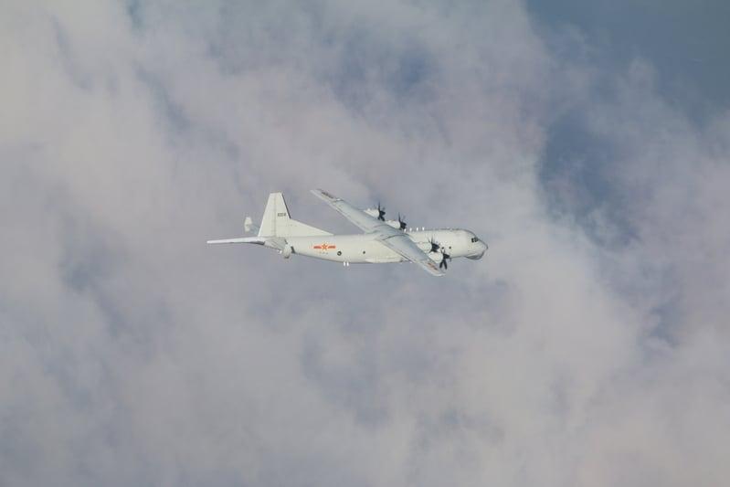 中華民國空軍2020年12月29日發佈共機動態,中共派遣一架運8反潛機侵犯台灣西南防空識別區(ADIZ)。(台灣國防部提供)