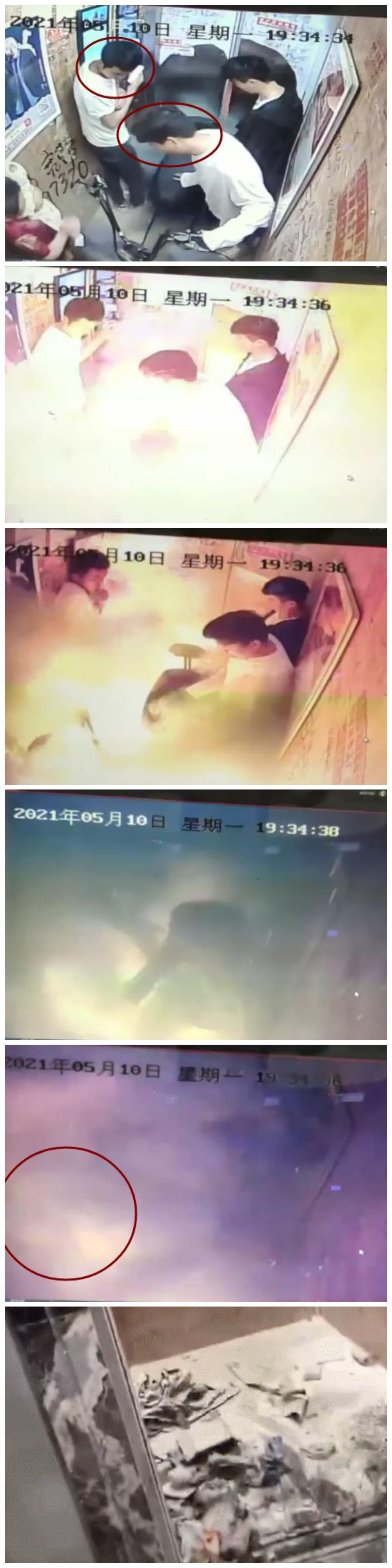 電動車在電梯內被瞬間爆燃起火。(影片截圖合成)
