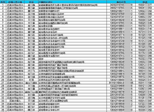 邢台市臨城縣公安局2020年監控進出臨城縣的5,951條機主數據。圖為文件截圖。(大紀元)