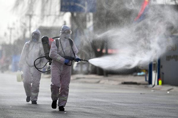河北石家莊市藁城區消殺畫面。(STR/CNS/AFP via Getty Images)