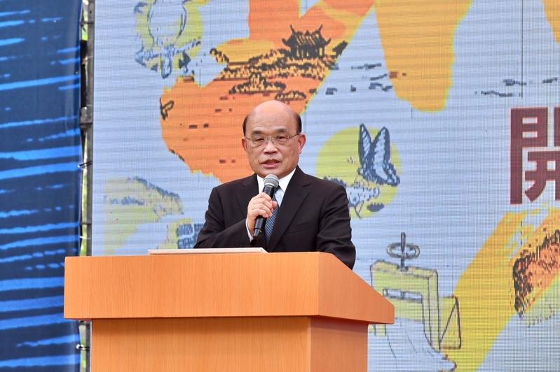 中華民國行政院長蘇貞昌5月8日下午前往台南出席「百年圳流—嘉南大圳開工滿百周年紀念活動」並致詞。(行政院提供)