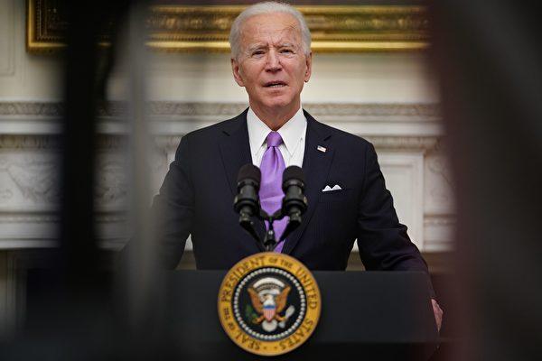 2021年1月21日,美國新任總統拜登(Joe Biden)在白宮談論疫情。(Mandel Ngan/AFP via Getty Images)