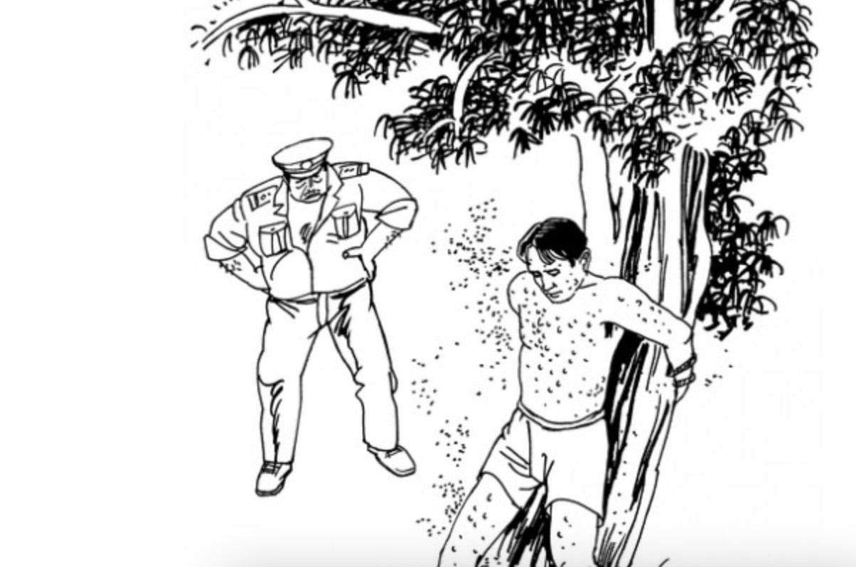 中共酷刑折磨示意圖:餵蚊子。(明慧網)