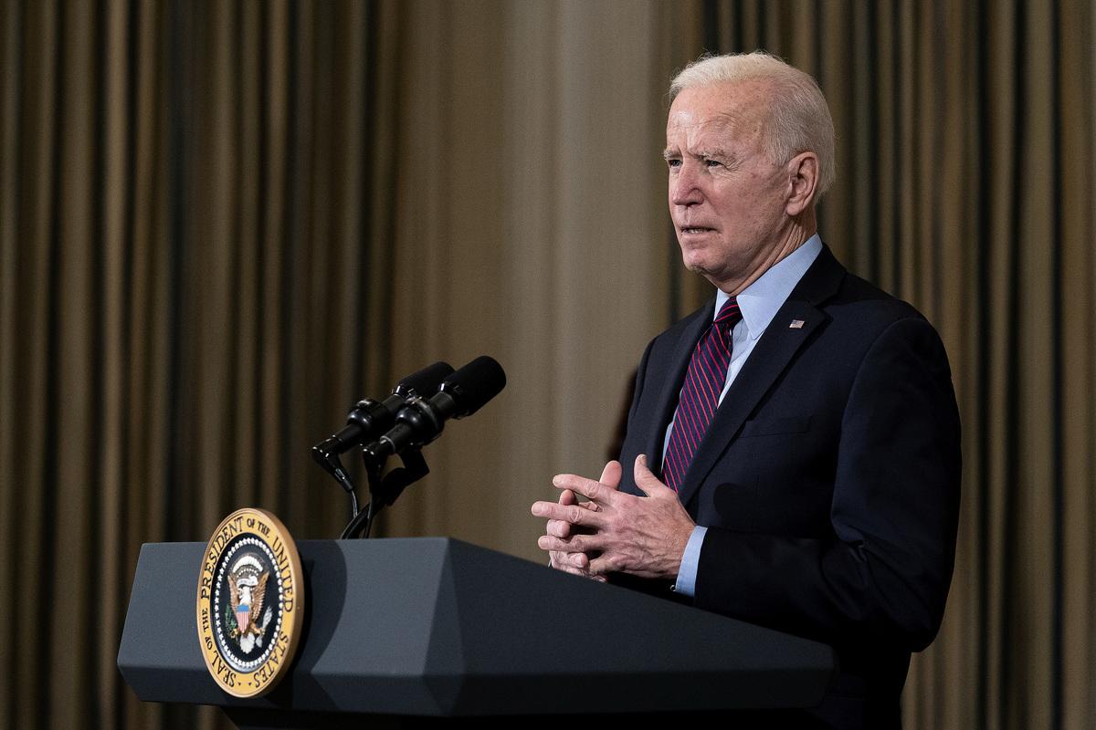 圖為2021年2月05日,美國總統拜登(Joe Biden)在白宮講話。 (Stefani Reynolds-Pool/Getty Images)