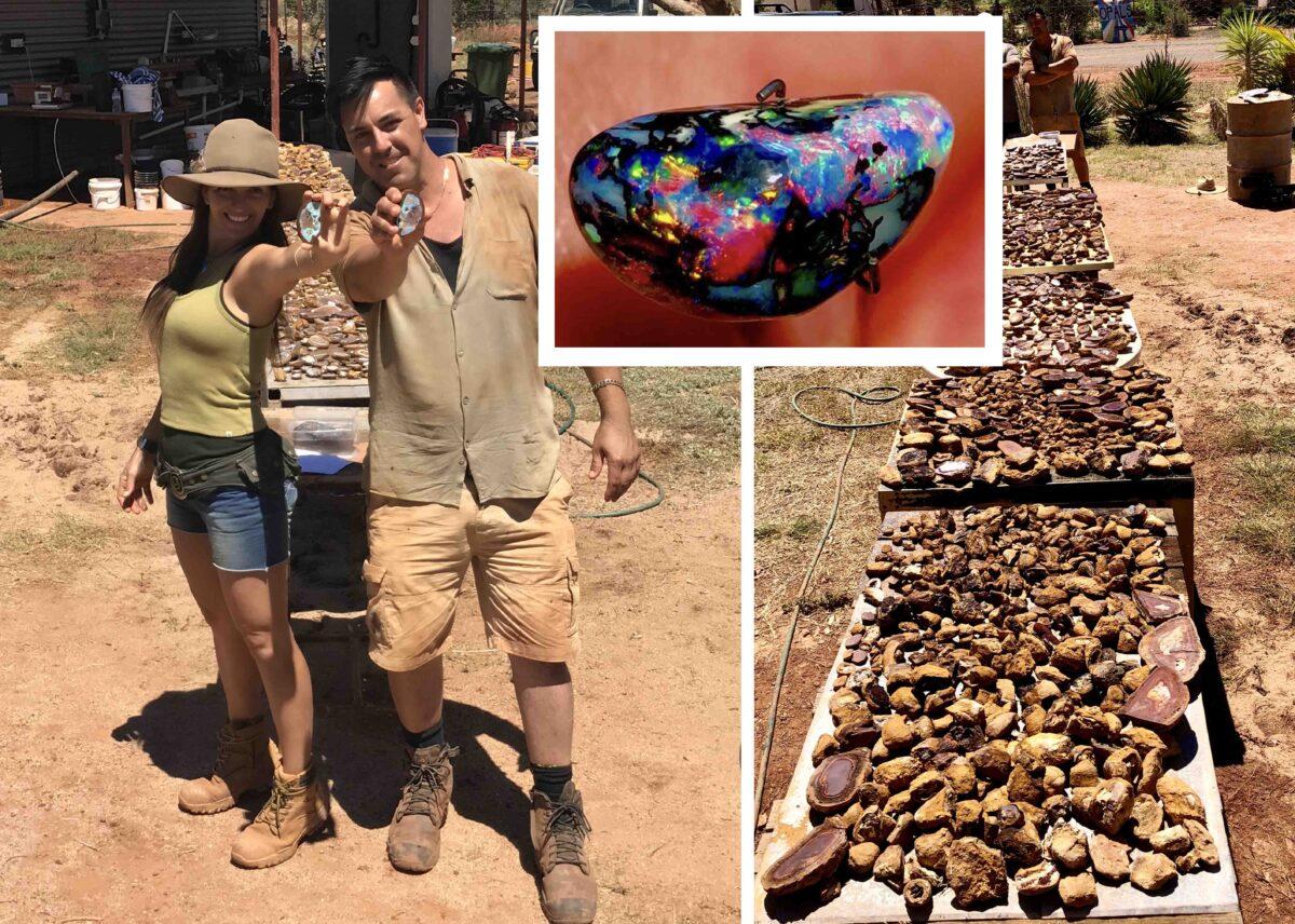 澳洲兄妹艾薩克和索菲亞近期在戶外尋寶的時候,意外挖出了數千塊色澤絢麗的珍貴蛋白石(opal),這是世界上最美麗、最珍貴、最稀有的寶石之一。(艾薩克提供)