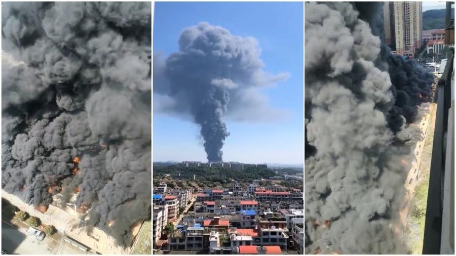 長沙格力倉庫突發大火 網民:以為原子彈爆炸