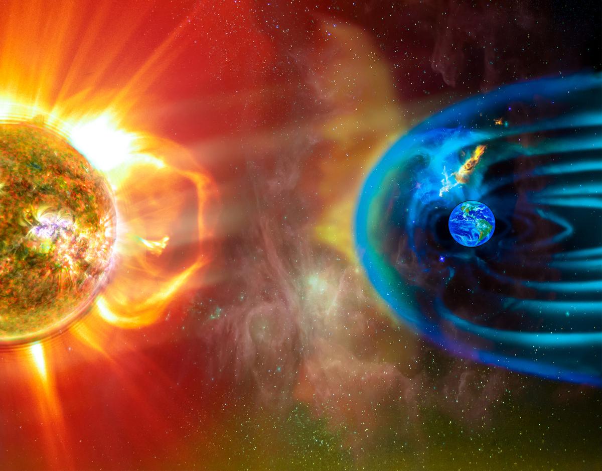 地球磁場受太陽影響示意圖。(ShutterStock)