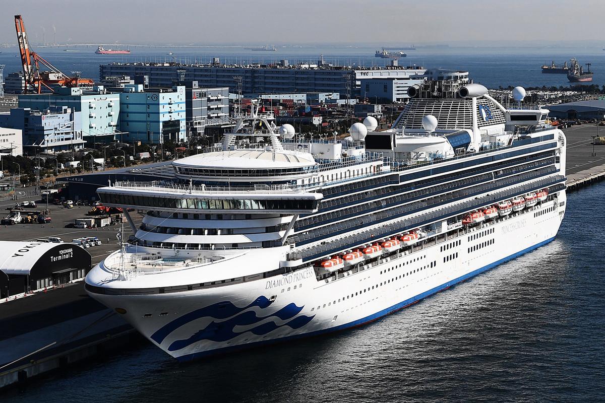 當地時間周三(2月12日),日本厚生勞動省表示,在日本港口隔離的鑽石公主號豪華郵輪上再確認39例中共病毒病例,致使全船確診人數達到174人。(CHARLY TRIBALLEAU/AFP)
