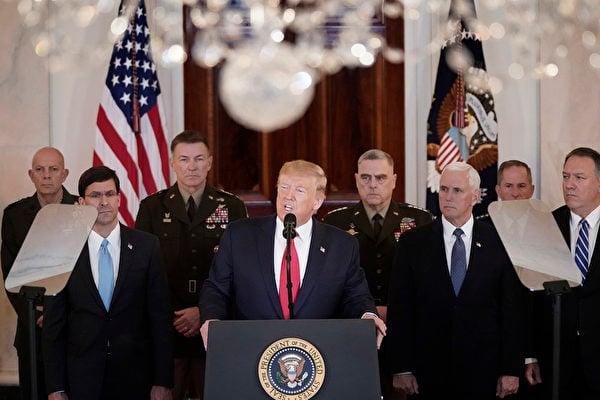今天(1月8日)上午11點,針對伊朗襲擊美軍駐伊拉克基地事件,特朗普在白宮大廳發表了講話。(Win McNamee/Getty Images)