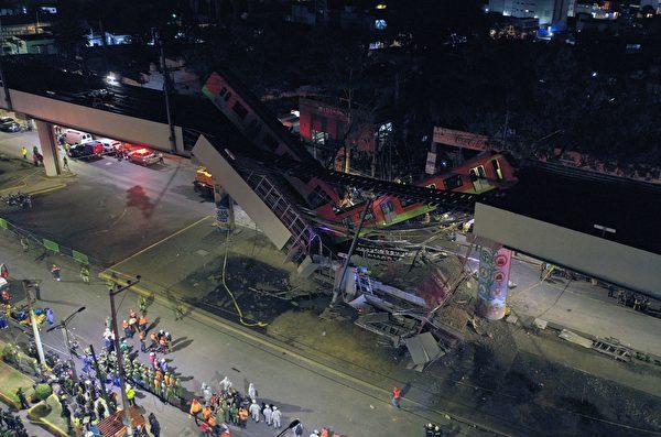 2021年5月3日,墨西哥城地鐵高架軌道坍塌,圖為事故現場鳥瞰圖。(PEDRO PARDO/AFP via Getty Images)
