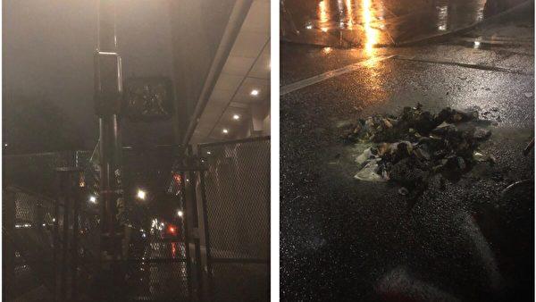左圖顯示司法部附近十字路口的一處信號燈被燒燬,右圖是剛熄滅的火堆。攝於2020年12月31日晚間波特蘭市西南大街一處暴力現場。(波特蘭警察局)
