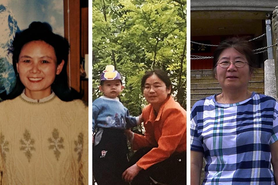 左起:法輪功學員嚴檸、葉奇君和趙簡。(大紀元合成圖片)
