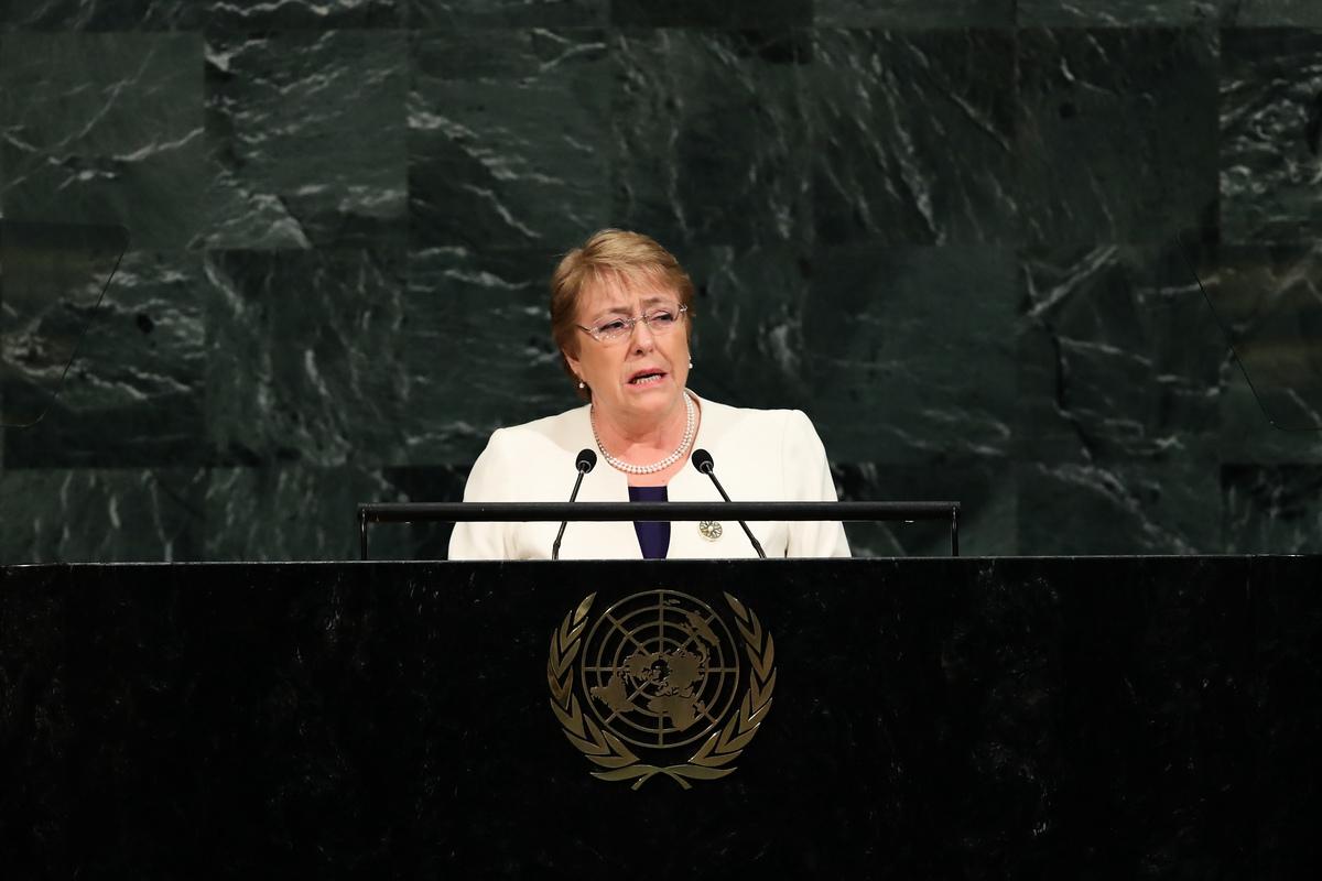圖為2017年9月20日,巴切萊特在聯合國總部發言。(Drew Angerer/Getty Images)