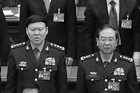 中共前軍委委員張陽(左)及房峰輝。(Lintao Zhang/Getty Images)