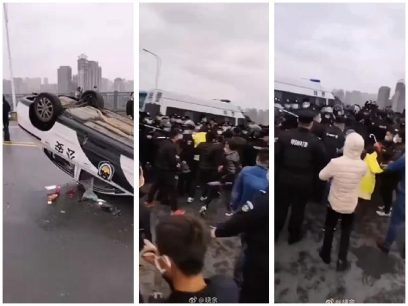 2020年3月27日上午,江西九江的交警與湖北黃梅的交警在地界發生衝突,特警介入後發生混戰。(網絡圖片合成)