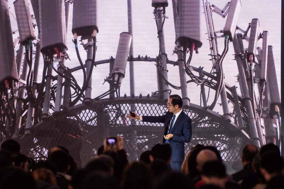 圖為華為於2019年1月24日在北京行政簡報中心舉行的新聞發佈會和5G華為產品發佈會。(FRED DUFOUR/AFP/Getty Images)