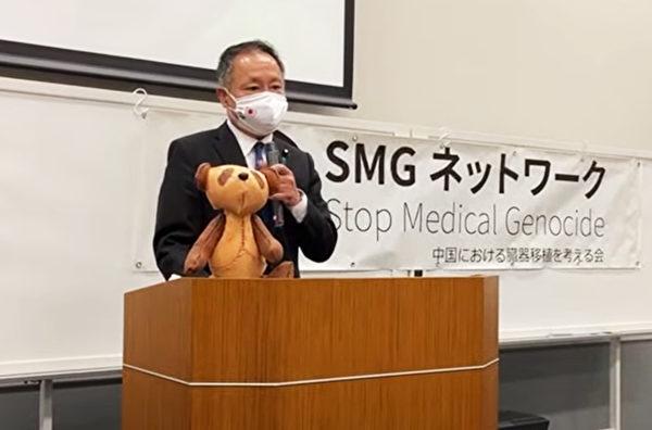 日本國會參議院議員山田宏說「如果這個恐怖的極權主義政黨不倒,世界就不會和平」。(金丸/大紀元)