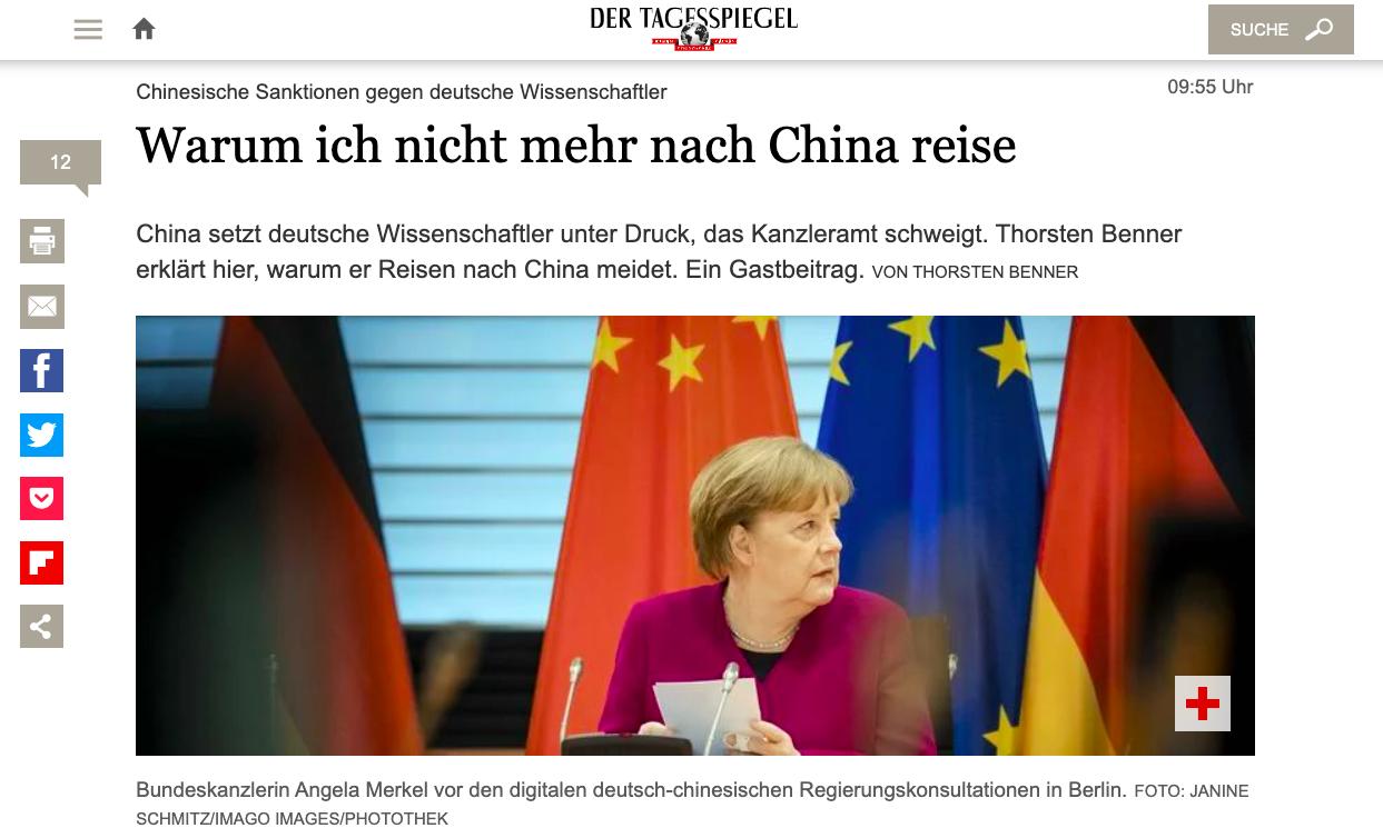 德媒《每日鏡報》刊文《我為甚麼不再去中國旅行》。(網頁截圖)