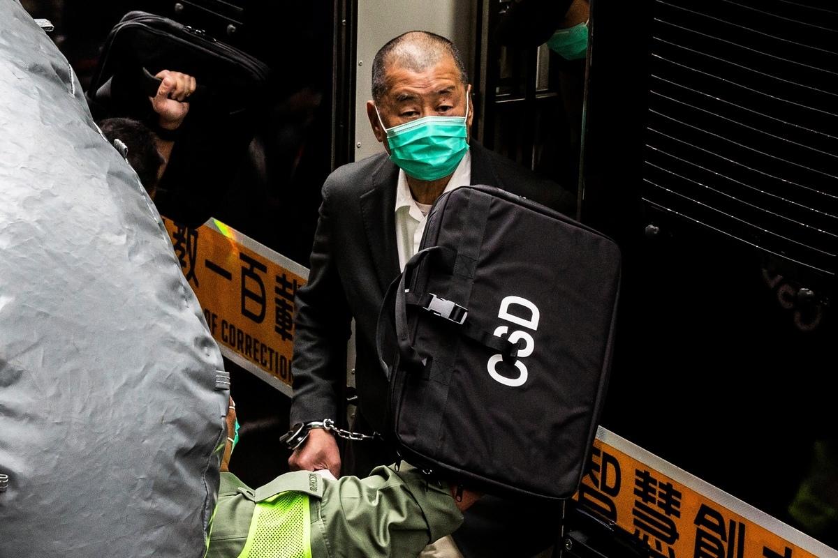 香港保安局5月14日依港區國安法規定,凍結壹傳媒集團創辦人黎智英持有的壹傳媒七成股份等財產。(ISAAC LAWRENCE/AFP via Getty Images)