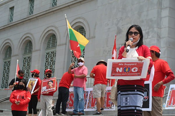 緬甸裔的唐美華參與「奶茶聯盟」(Milk Tea Alliance)為反抗極權 、抵抗暴政發聲。(徐繡惠/大紀元)