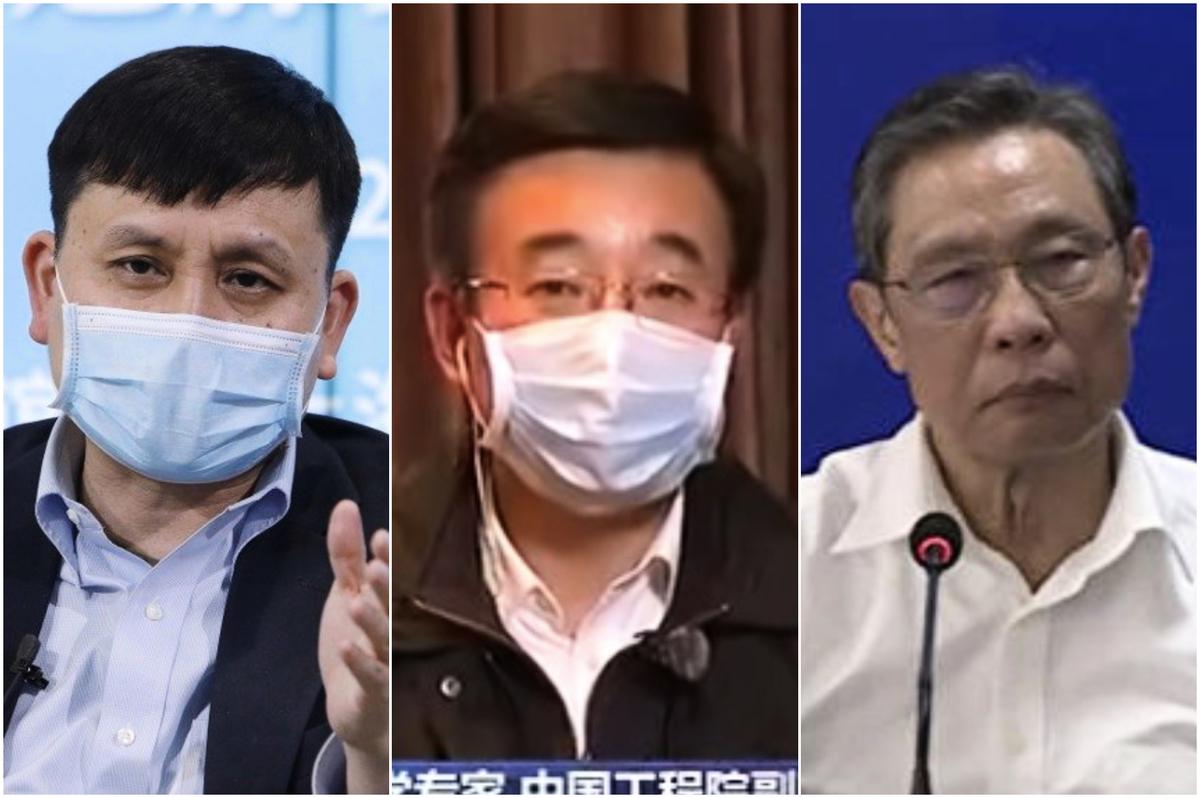 中共三個傳染病專家在系列問題上互嗆,從左至右分別為:張文宏、王辰、鍾南山。(截圖合成)