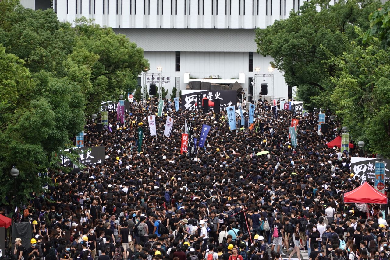 2019年9月2日,由香港大專學界籌辦,抗議港府無視民眾訴求,港警暴力鎮壓。圖為中文大學百萬大道罷課集會活動。(余鋼/大紀元)