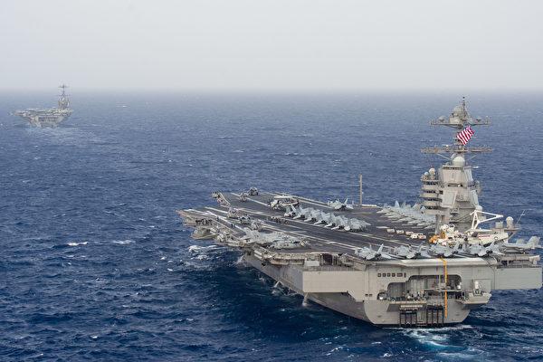 6月4日,福特號航母和杜魯門號航母一起在大西洋協同運行。這是首次福特級航母和尼米茲級航母一起協作。(U.S. Navy photo by Mass Communication Specialist Seaman Isaac Esposito/Released)