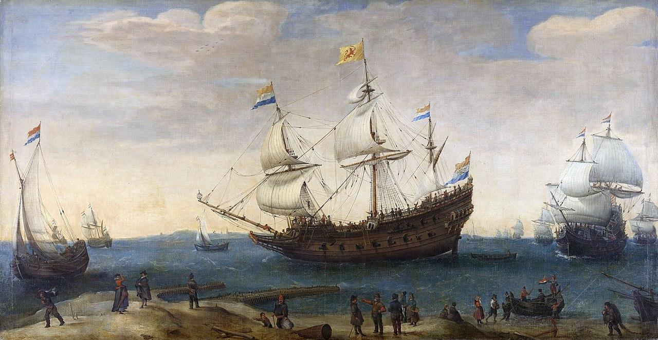 近期,芬蘭一個非牟利潛水員組織在波羅的海意外發現了一艘十七世紀的荷蘭沉沒商船,該木製帆船儘管沉沒了400年,除船上的桅桿和部份甲板輕微受損,船體幾乎完好無損。圖為荷蘭17世紀的商船隊。(公有領域)