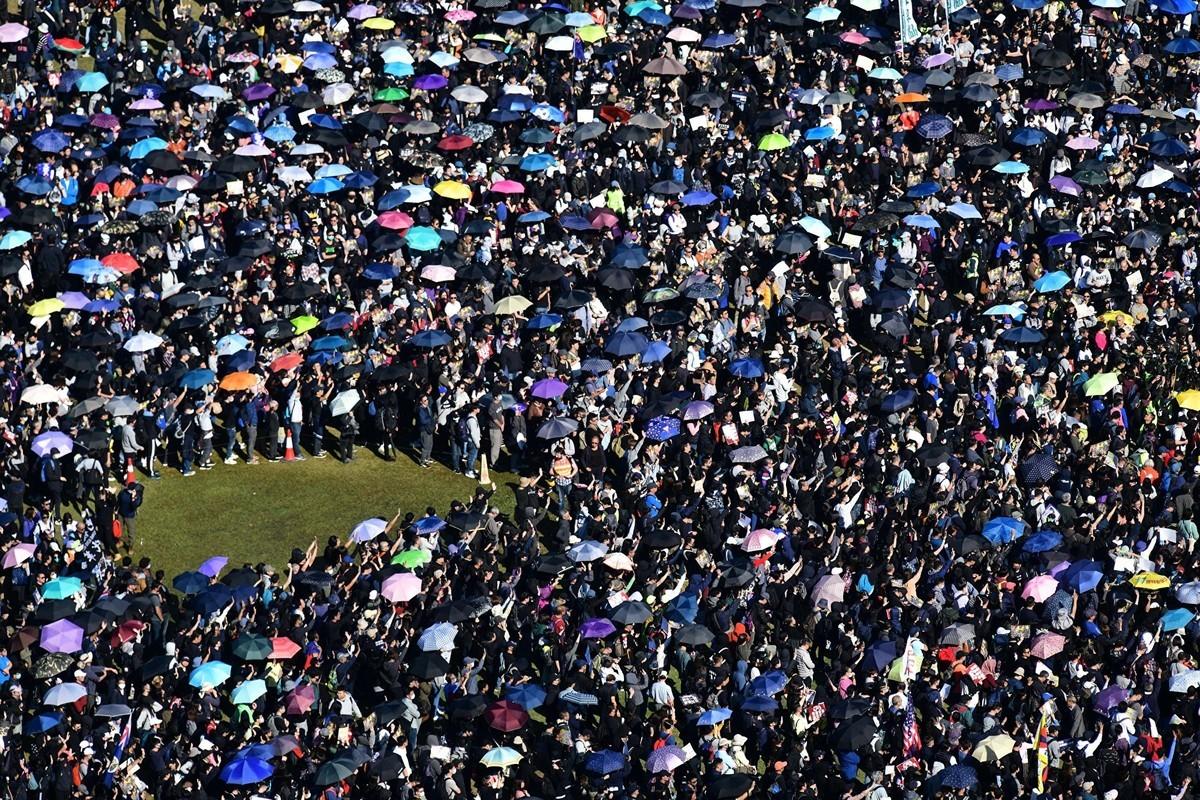 2019年12月8日,港人舉行「國際人權日」集會大遊行。(ANTHONY WALLACE/AFP via Getty Images))