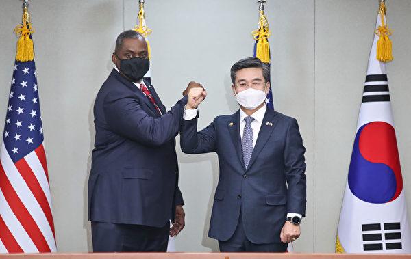 3月17日,美國國防部長奧斯汀和南韓國防部長官徐旭舉行會談。(Ko Seong-Joon-Korea Pool/Getty Images)