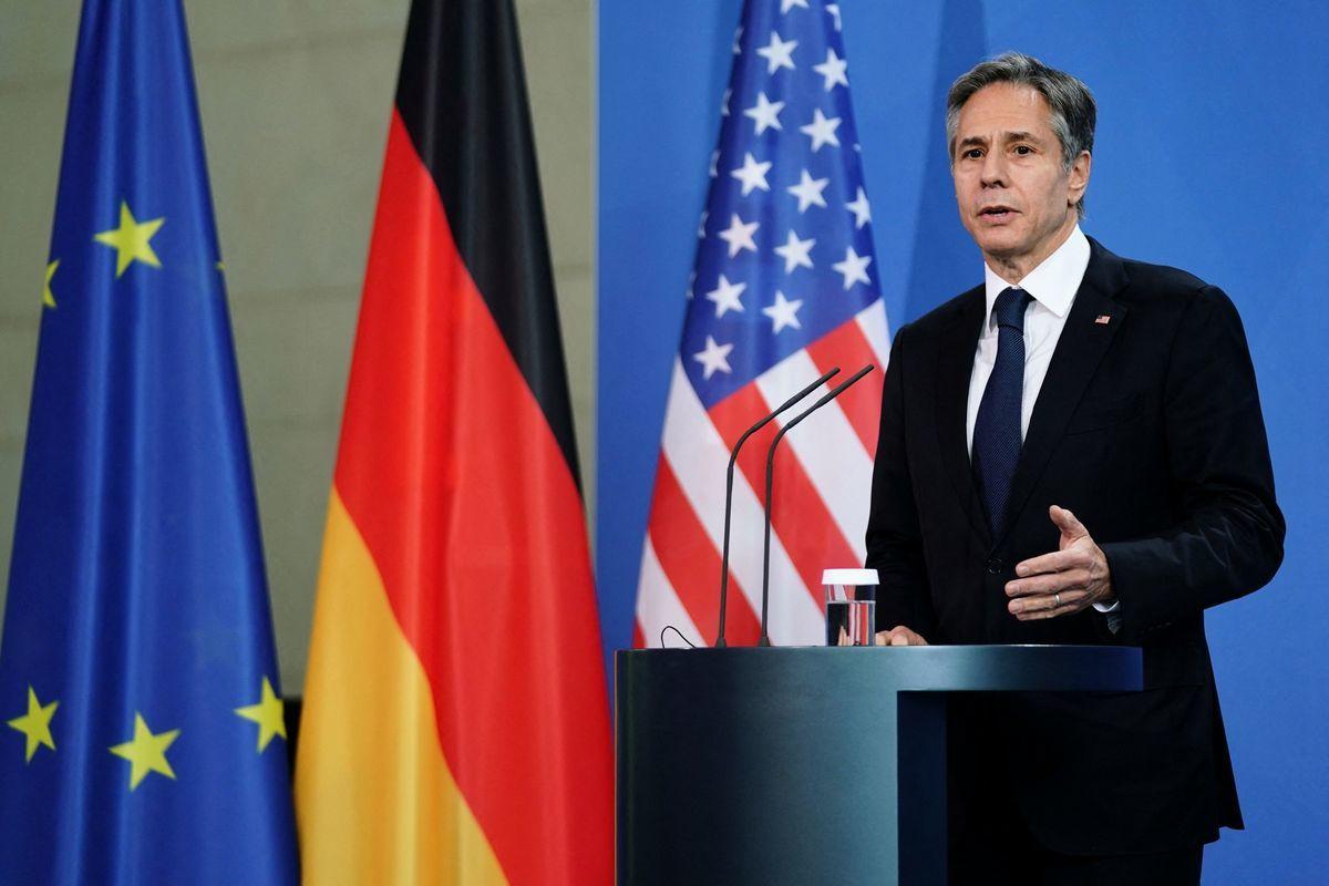 2021年6月23日,美國國務卿布林肯在柏林的新聞發佈會上發言。(CLEMENS BILAN/POOL/AFP via Getty Images)
