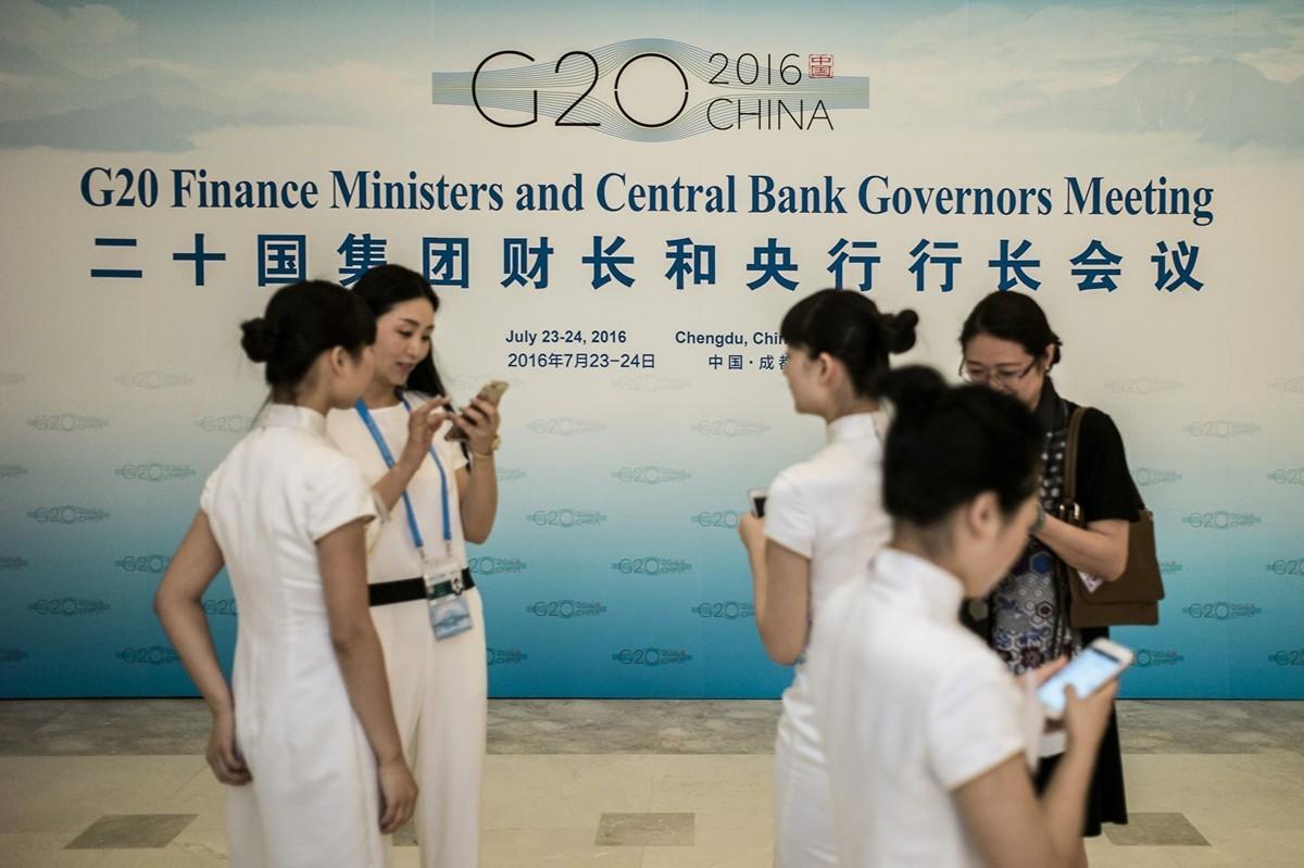 中共的金融官員和專家們即使嗅到了死亡氣息,也不會把真相告訴中國百姓。圖  為2016年在四川成都舉行的G20峰會之前的、G20財長和央行行長會議的會場。  (Getty Images)
