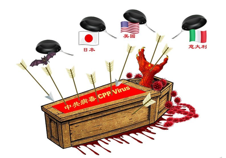 示意圖:中共甩鍋招致全球加速為武漢肺炎正名:中共病毒(俗稱武漢病毒、新冠病毒)。