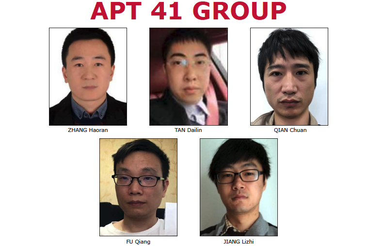 美國聯邦調查局和司法部公佈的中共黑客組織APT41的五名成員。(FBI網站截圖)