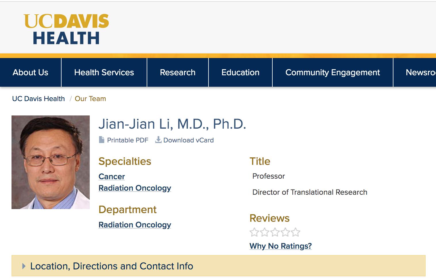 美國加州大學戴德偉分校網站關於李健健(Jian-Jian Li)教授的信息。(網頁截圖)