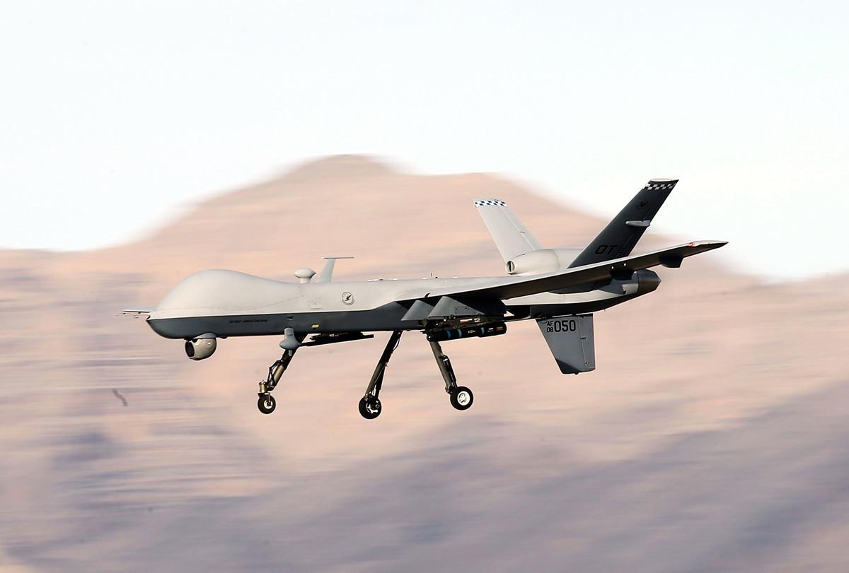 助特朗普總統除掉伊朗軍事頭目卡西姆‧索萊馬尼(Qassim Soleimani)的「MQ-9收割者」無人機(如圖)。(Isaac Brekken/Getty Images)